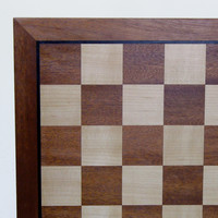 "CHESS BOARD 23.5"" SAPELE & MAPLE w/ 2.5"" SQ"