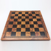 """CHESS BOARD 10"""" FAUX LEATHER & WOOD w/ 1"""" SQ"""
