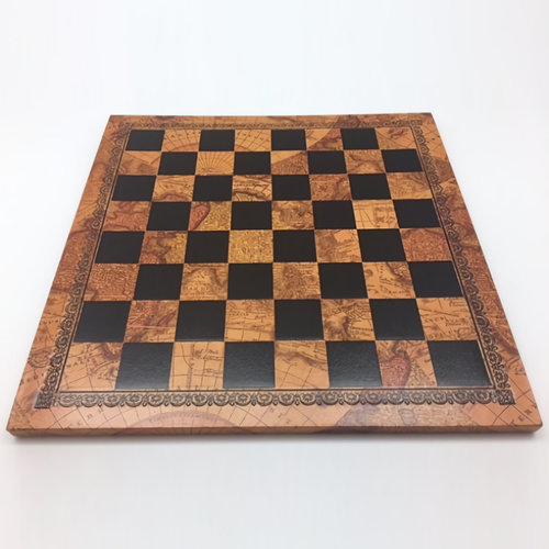 "Worldwise Imports CHESS BOARD 10"" FAUX LEATHER & WOOD w/ 1"" SQUARES"