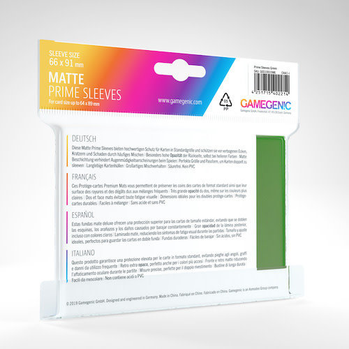 GAMEGENIC DECK PROTECTOR: MATTE PRIME - GREEN (100)