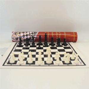 "JOHN HANSEN COMPANY CHESS SET 3.75"" PLASTIC ON 19.75""/2"" VINYL BOARD"