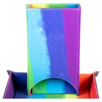 FOLD UP VELVET DICE TOWER: RAINBOW