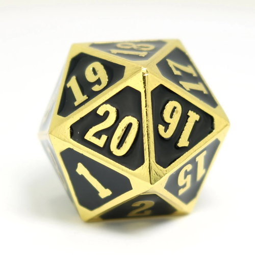 Die Hard Dice MTG D20 SPINDOWN SHINY GOLD WITH BLACK