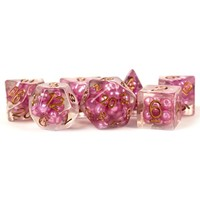 DICE SET 7 PEARL RESIN: PINK / COPPER