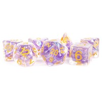 DICE SET 7 PEARL RESIN: PURPLE / GOLD