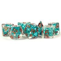 DICE SET 7 PEARL RESIN: TEAL / COPPER