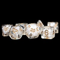 DICE SET 7 PEARL RESIN: CLEAR / COPPER