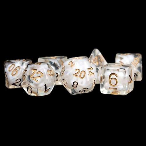 Metallic Dice Company DICE SET 7 PEARL RESIN: CLEAR / COPPER