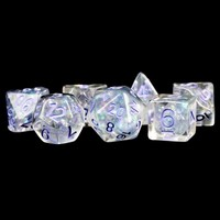 DICE SET 7 PEARL RESIN: CLEAR / PURPLE