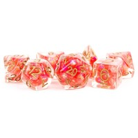 DICE SET 7 PEARL RESIN: RED / COPPER