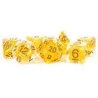 DICE SET 7 PEARL RESIN: YELLOW / COPPER
