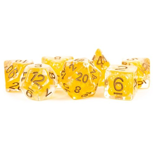 Metallic Dice Company DICE SET 7 PEARL RESIN: YELLOW / COPPER