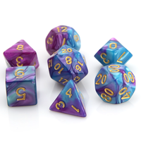 POLYMER DICE SET 7 PURPLE TURQUOISE MARBLE