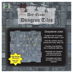 """Role 4 Initiative DRY ERASE DUNGEON TILES: 10"""" GRAYSTONE PACK"""