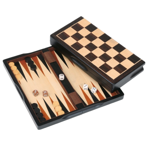 "JOHN HANSEN COMPANY COMBO 3 IN 1 DARK WOOD 11"" Checkers, Chess, Backgammon"