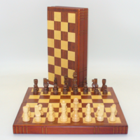 """CHESS SET 2.5"""" FRENCH on 12"""" BOOK-STYLE BOARD"""