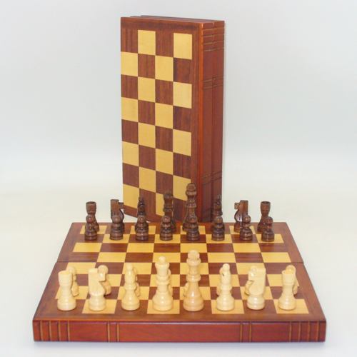"""Worldwise Imports CHESS SET 2.5"""" FRENCH on 12"""" BOOK-STYLE BOARD"""