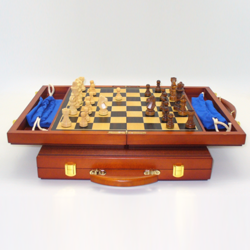 """Worldwise Imports CHESS SET 2.5"""" FRENCH on 13"""" ATTACHE-STYLE BOARD"""