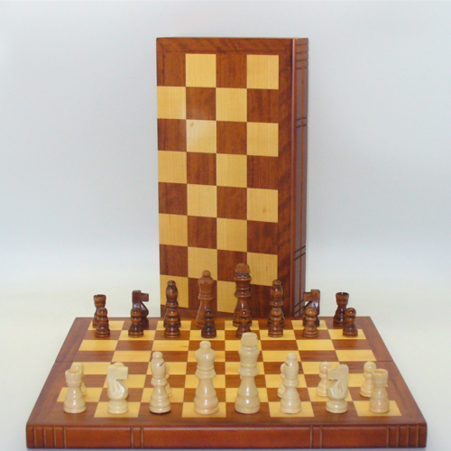 """Worldwise Imports CHESS SET 3"""" FRENCH on 15"""" BOOK-STYLE BOARD"""