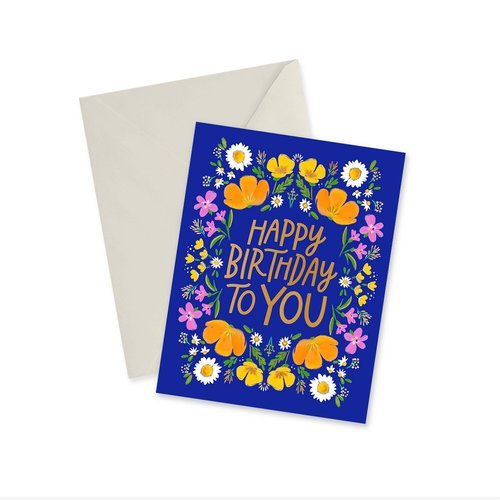 Doodles Ink Designs CARD - HAPPY BIRTHDAY TO YOU GOLD FOIL (BLUE)
