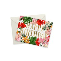 CARD - BIRTHDAY TROPICAL BLOOMS GOLD FOIL