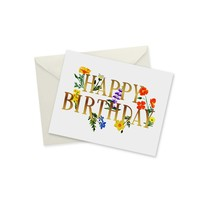 CARD - HAPPY BIRTHDAY WILDFLOWERS GOLD FOIL