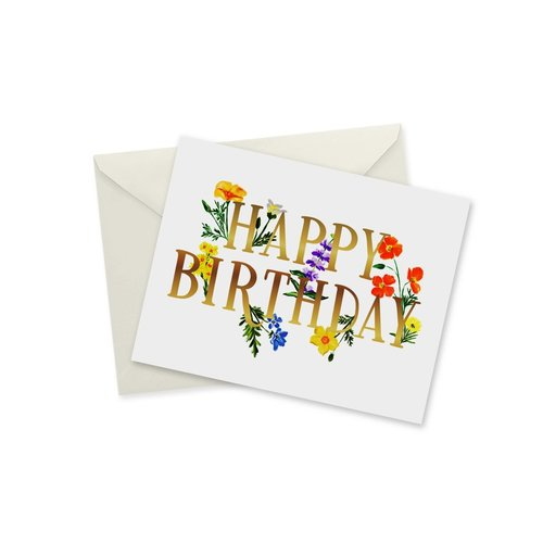 Doodles Ink Designs CARD - HAPPY BIRTHDAY WILDFLOWERS GOLD FOIL