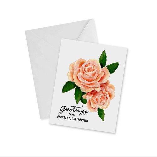 Doodles Ink Designs CARD - GREETINGS FROM BERKELEY ROSES NOTECARD