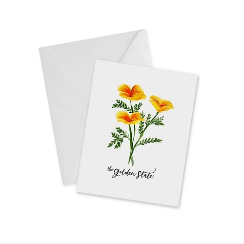 Doodles Ink Designs CARD - GOLDEN POPPIES - THE GOLDEN STATE