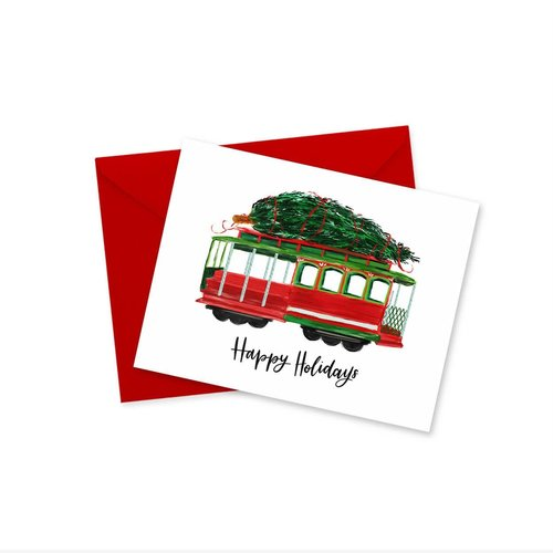 Doodles Ink Designs HOLIDAY CARD - CABLE CAR HAPPY HOLIDAYS