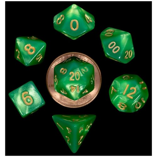 Metallic Dice Company DICE SET 7 MINI: GREEN / LIGHT GREEN / GOLD