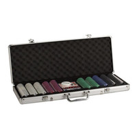 POKER CHIP SET 500 11G w/SUITED PRINT in ALUMINUM CASE
