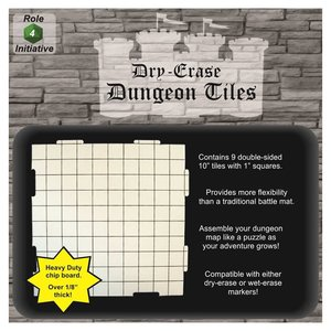 """Role 4 Initiative DRY ERASE DUNGEON TILES: 10"""" WHITE PACK"""