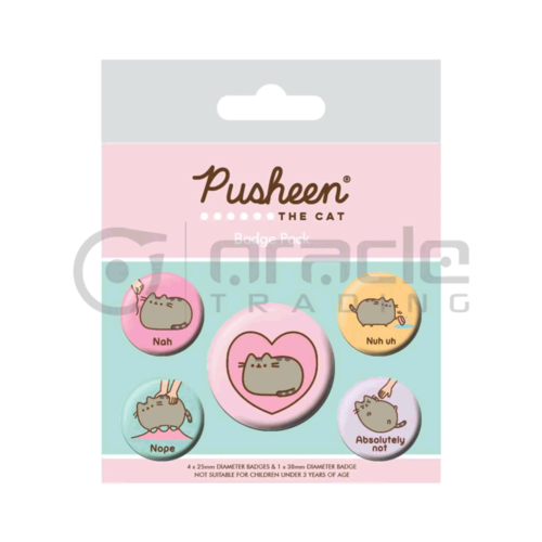 Oracle Trading Company BUTTON SET: PUSHEEN - LAZY BADGE PACK