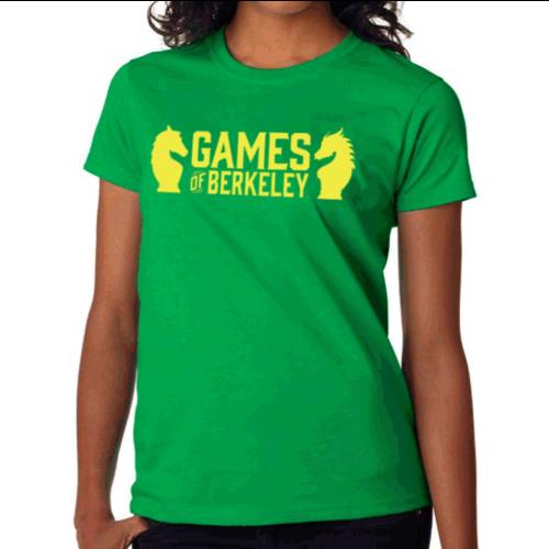 Games of Berkeley WOMEN'S GREEN GoB SHIRT w/ YELLOW LOGO