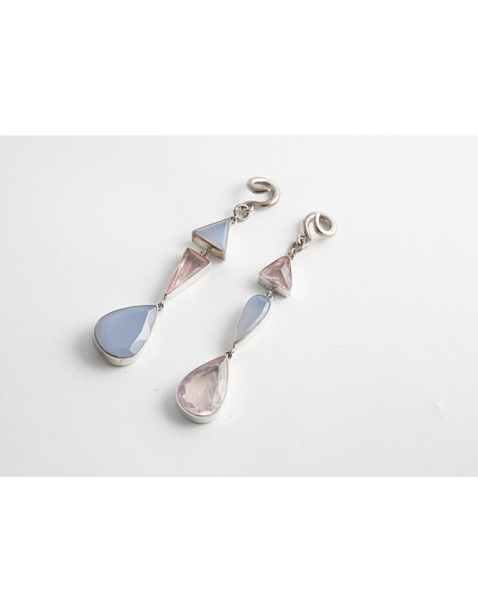 Diablo Organics Diablo Organics silver-set asymmetrical triple dangle with blue chalcedony and rose quartz on small classic coil
