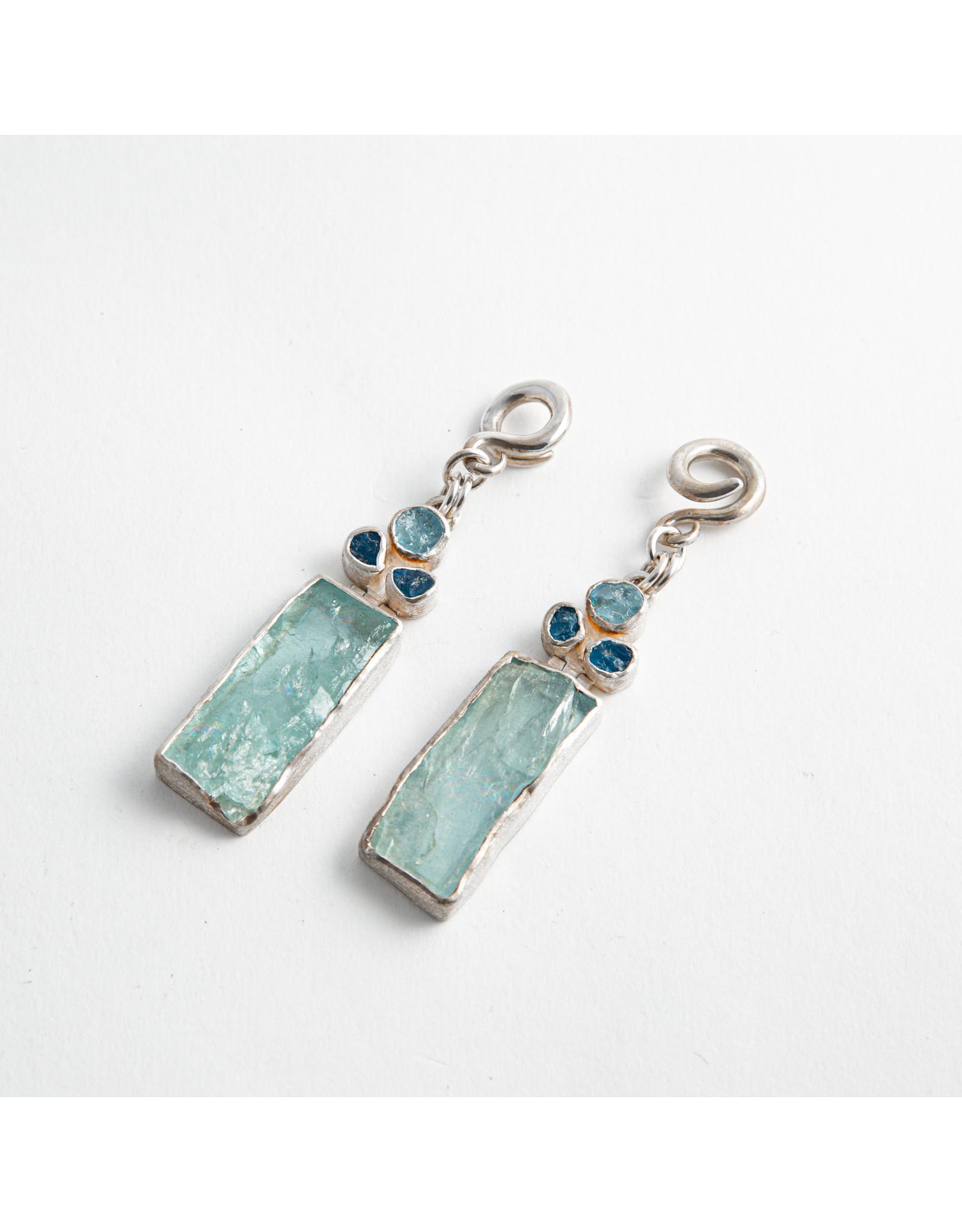 Diablo Organics Diablo Organics silver aquamarine and apatite stone dangle on small classic coil
