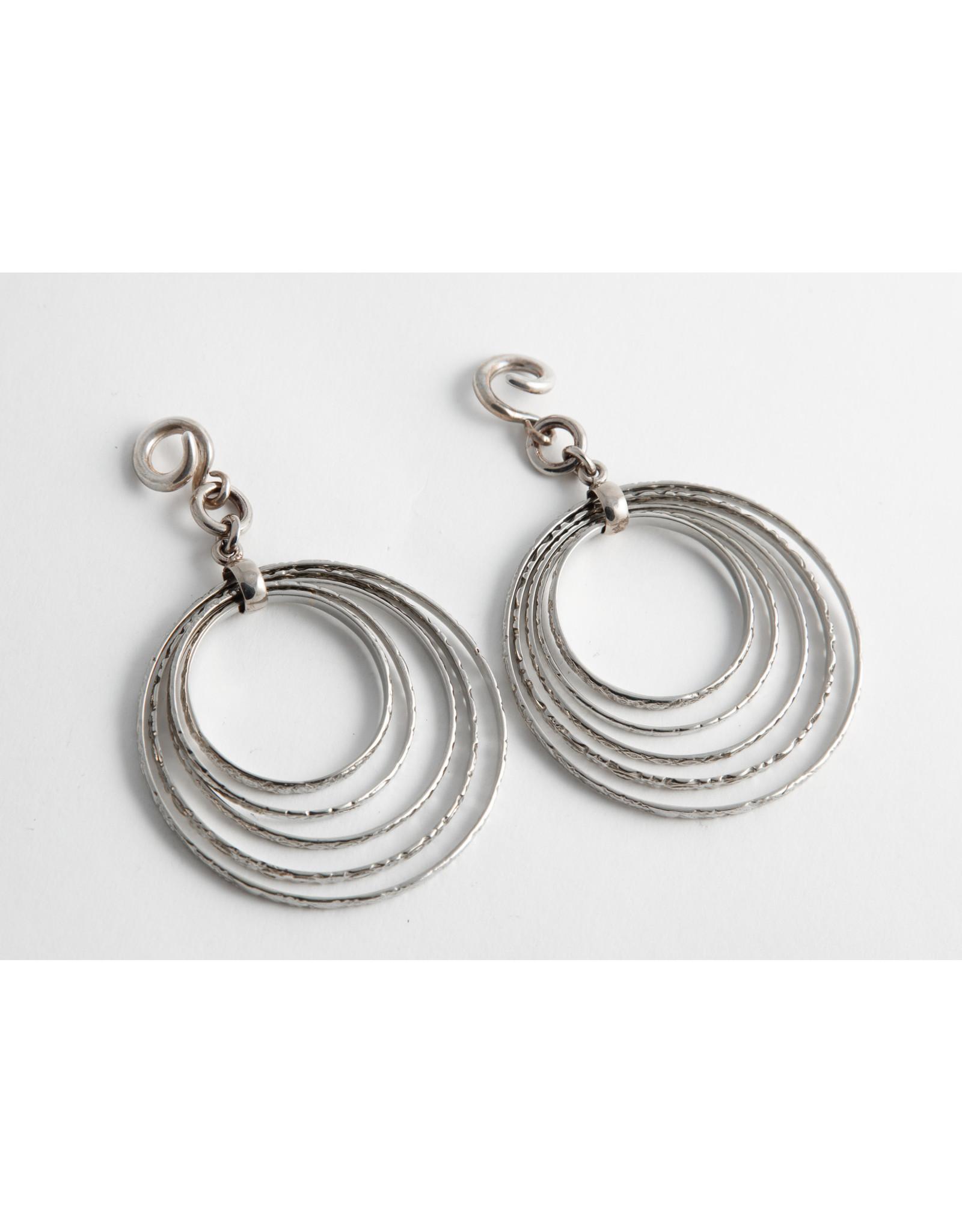 Diablo Organics Diablo Organics white brass 5 ring hoop on small silver classic coil
