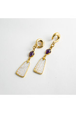 Diablo Organics Diablo Organics brass carved mother of pearl dangle with faceted amethyst accent on large brass classic coil