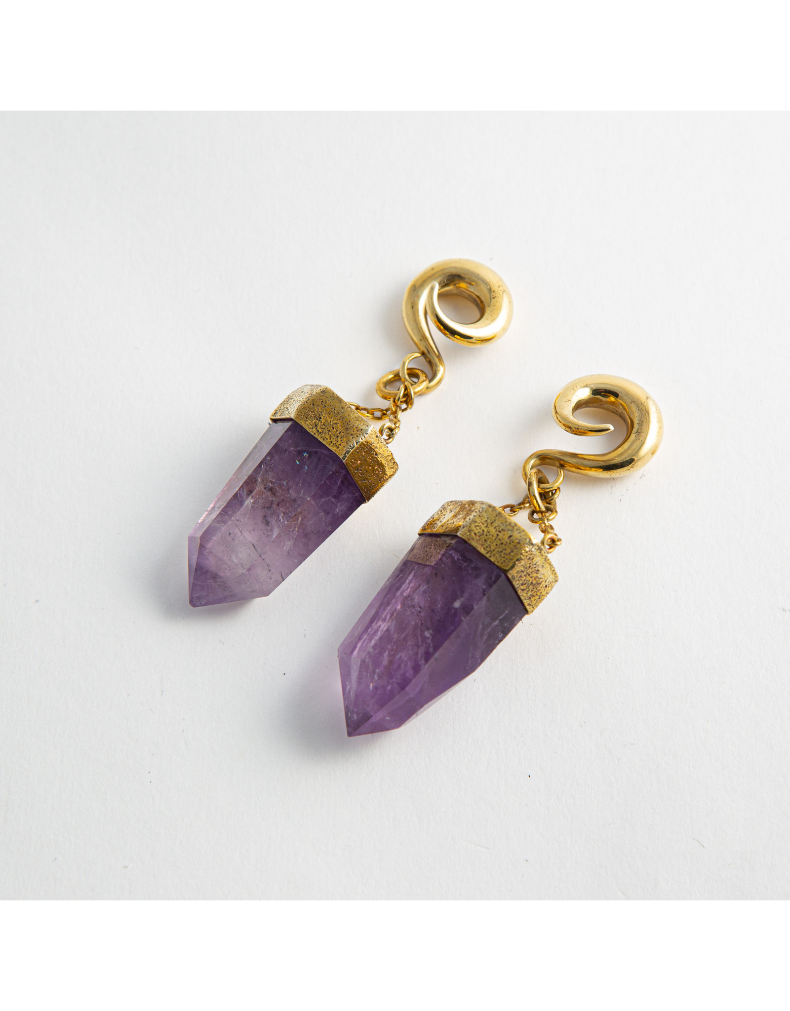 Diablo Organics Diablo Organics brass-set large amethyst crystal on large classic coil