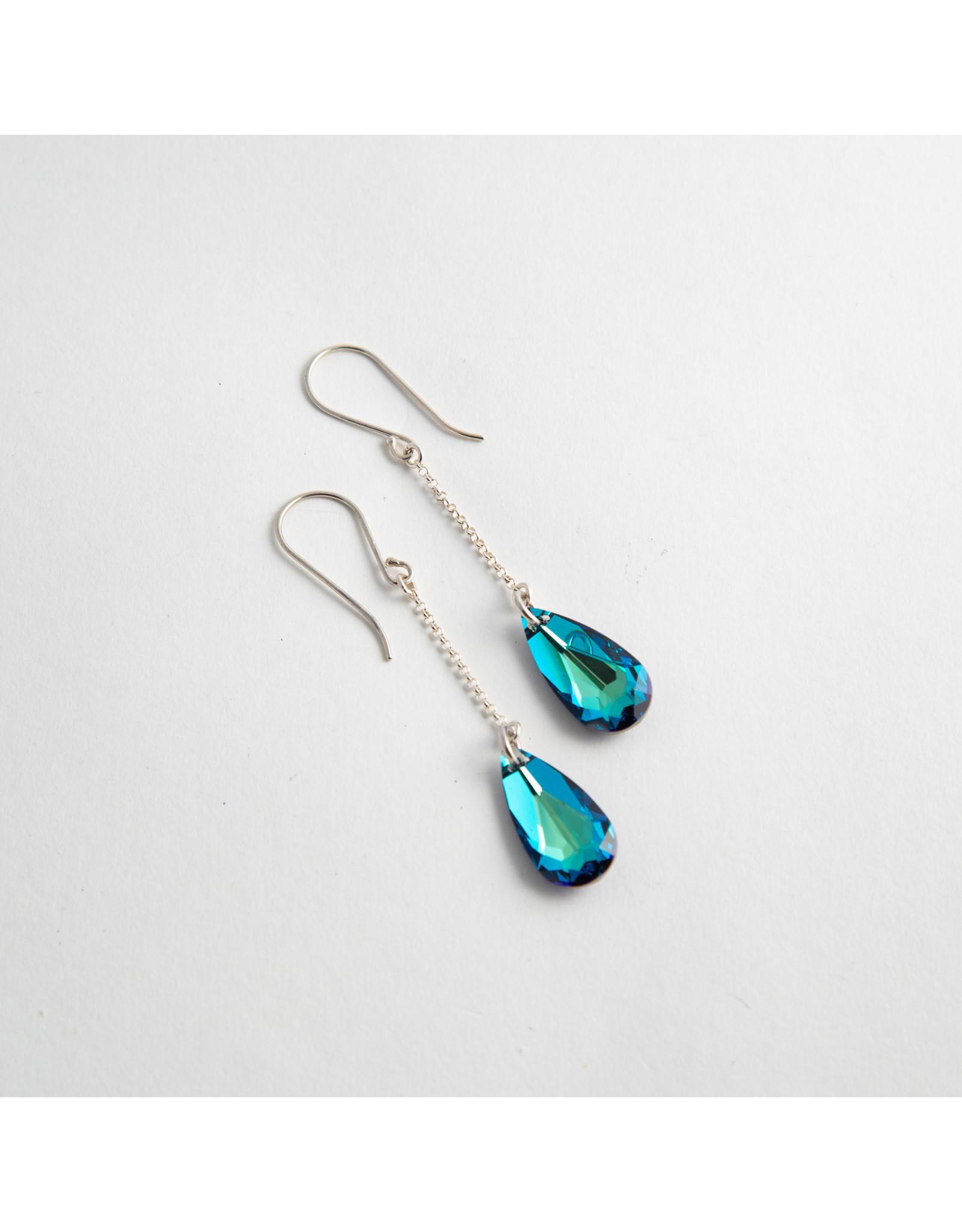 Diablo Organics Diablo Organics Bermuda Blue teardrop Swarovski crystal on 23mm silver chain & hook traditional earrings
