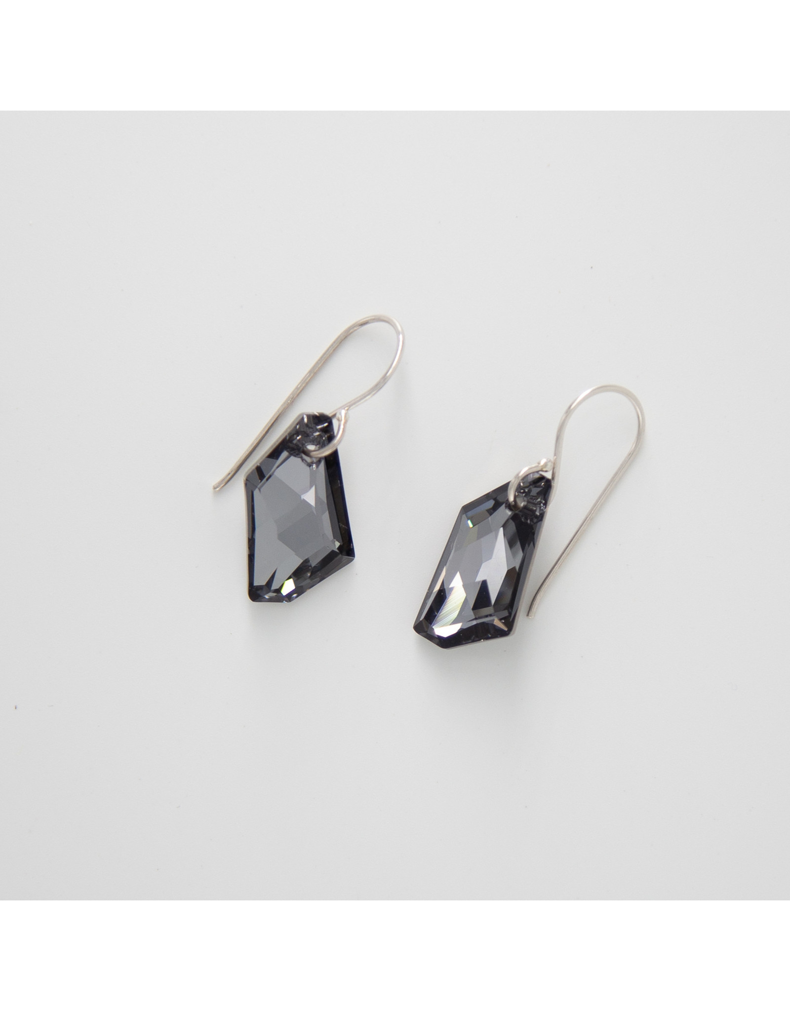 Diablo Organics Diablo Organics Black Diamond De-Art Swarovski crystal traditional earrings on silver coils