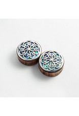 """Buddha Jewelry Organics Buddha Jewelry Organics 7/8 arang """"Idol"""" with Silver and Abalone inlay double flared plugs"""