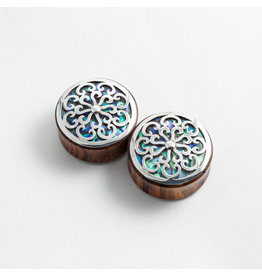 "Buddha Jewelry Organics BJO 1-3/8 arang ""Idol"" with Silver and Abalone inlay"