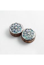 "Buddha Jewelry Organics 1-1/2 arang wood Idol with Silver Buddha Jewelry Organics 1-1/2 arang ""Idol"" with Silver and Abalone inlay double flared plugsand Abalone double flared plugs"