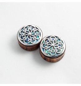 "Buddha Jewelry Organics BJO 1-1/2 arang ""Idol"" with Silver and Abalone inlay"