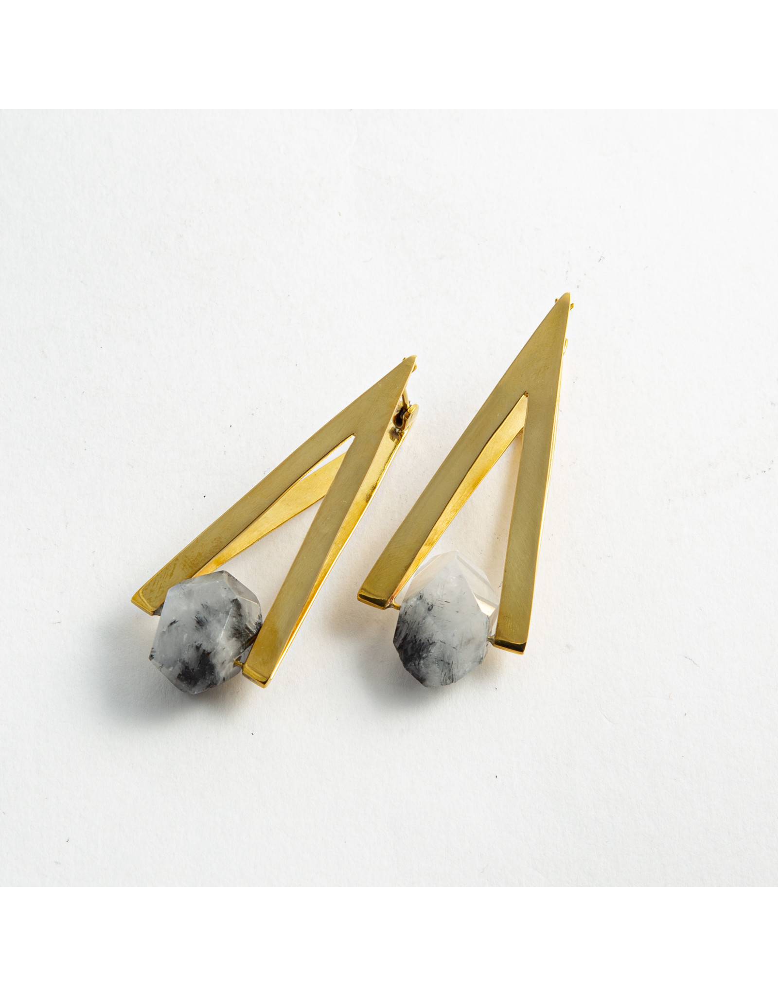 "Buddha Jewelry Organics Buddha Jewelry Organics brass ""Vida"" with tourmalated quartz hanging design"