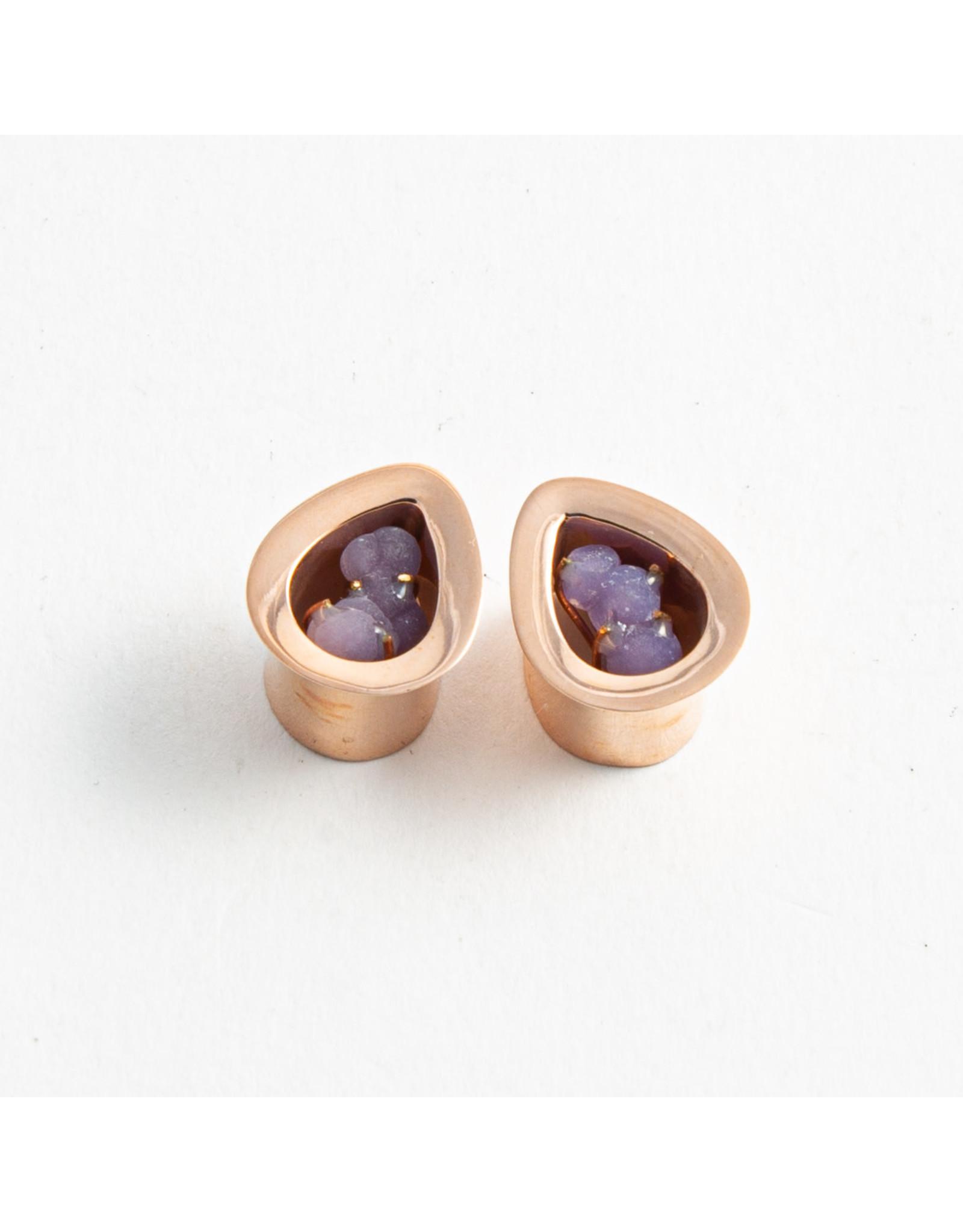 Buddha Jewelry Organics Buddha Jewelry Organics 1/2 Rose gold plate grape chalcedony mayan flare teardrop plug