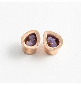 Buddha Jewelry Organics BJO 1/2 Rose Gold Grape Chalcedony Teardrop Plug