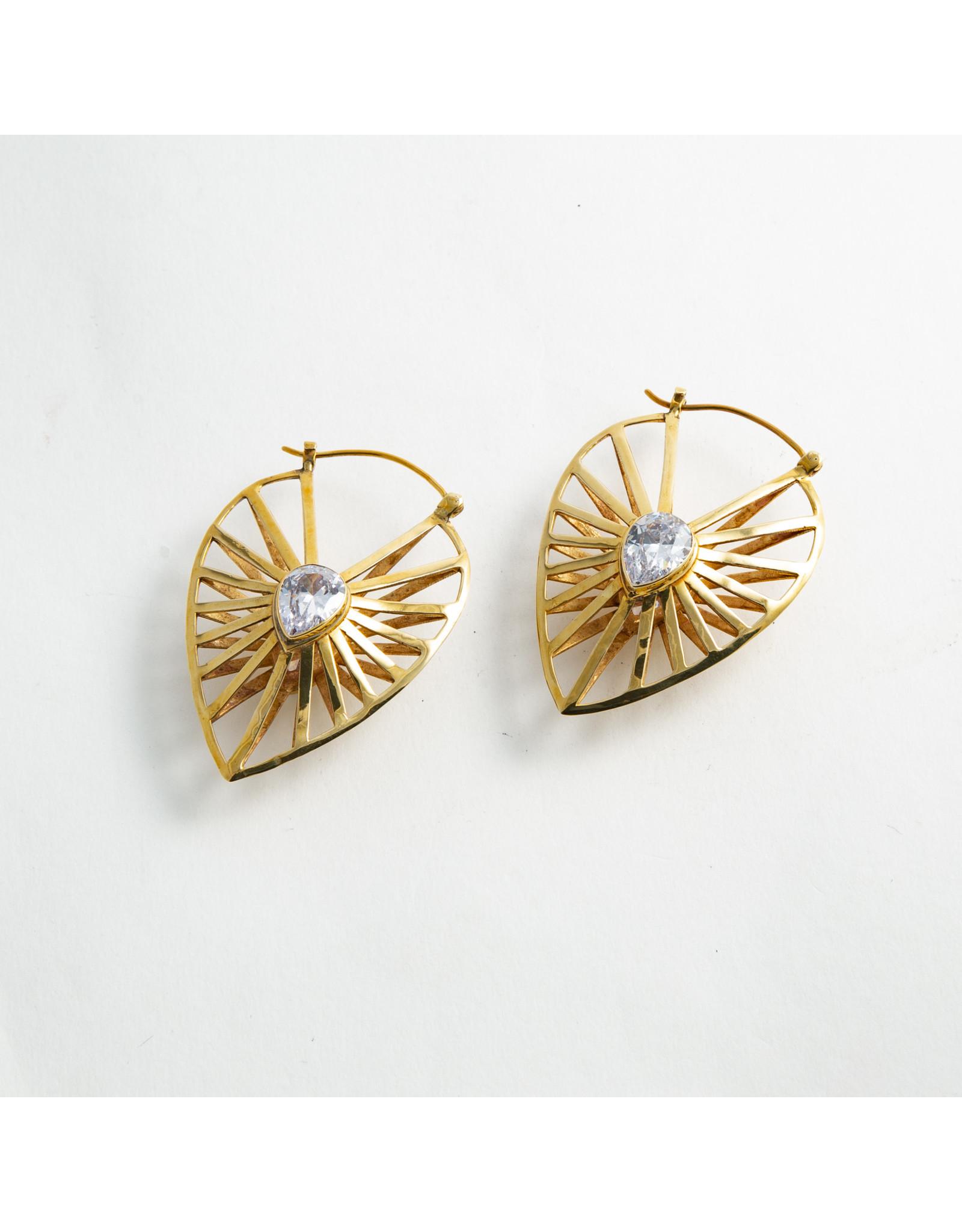 "Buddha Jewelry Organics Buddha Jewelry Organics brass ""Manifest"" with CZ hanging design"